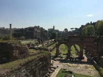 View of the Roman Forum with the Colosseum in the back